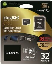 Карта памет Sony 32GB Micro SD,class 10,  Super High Speed, 95MB/sec read, 50MB/sec write