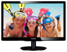 "Монитор Philips 200V4QSBR, 19.53"" MVA LED, FullHD (1920 x 1080), Черен"