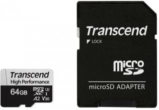 Карта памет за смартфон Transcend 64GB microSDXC with adapter UHS-I U3 A2 (TS64GUSD330S)