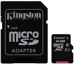 Карта памет Kingston 64GB microSDXC Canvas Select Class 10 UHS-I 80MB/s Read Card + SD Adapter