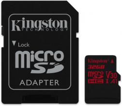 Карта памет Kingston 32GB microSDHC Canvas React 100R/70W U3 UHS-I V30 A1 Card + SD Adpter  (SDCR/32GB)