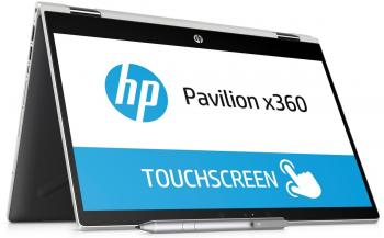 "Ултра тънък лаптоп HP Pavilion x360 14-cd0037nu (4MS84EA) 14"" FHD UWVA BV IPS Touch, i3-8130U, 8GB RAM, 256GB SSD, Win 10, Сребрист"