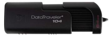 USB флаш памет Kingston DataTraveler 104, 64GB, USB 2.0, Черна