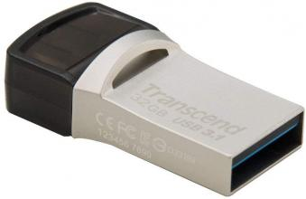 USB 3.1+Type-C флаш драйв 32GB Transcend JetFlash 890S, Сребрист