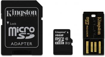 Kingston 16GB Multi Kit Class10 microSD + SD адаптер + USB четец, Android