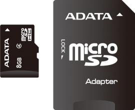 Карта памет A-DATA, 8GB, microSDHC, Class 4, Adapter