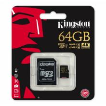 Карта памет Kingston 64GB microSDHC    UHS-I (Adapter, Class UHS-I U3)