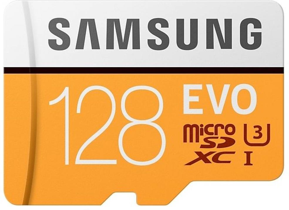 Samsung 128GB micro SD Card EVO with Adapter, Class10, Read 100MB/s - Write 90MB/s