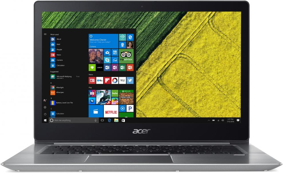 "Acer Aspire Swift 3 Ultrabook (NX.GNUEX.036) 14.0"" FHD IPS, i3-7130U, 4GB RAM, 256GB SSD, Win 10, Сребрист"