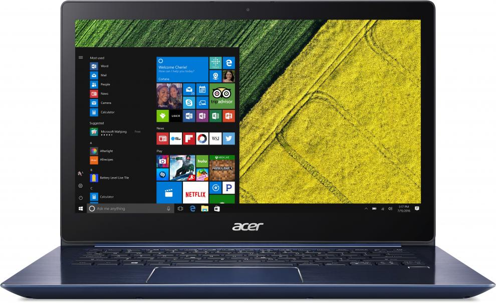 "Acer Aspire Swift 3 Ultrabook (NX.GPLEX.013) 14.0"" FHD IPS, i3-7130U, 4GB RAM, 256GB SSD NVMe, Win 10, Син"
