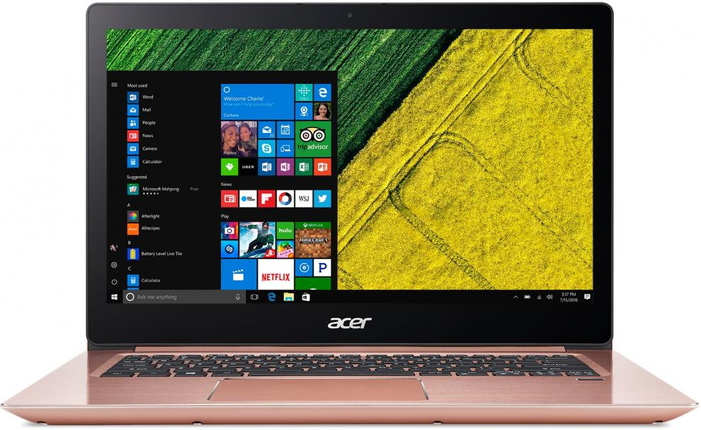 "Acer Aspire Swift 3 Ultrabook, 14.0"" FHD IPS, i3-7130U, 8GB RAM, 256GB SSD, Win 10, Розово Злато"
