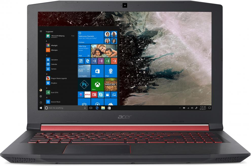 "UPGRADED Acer Aspire Nitro 5 AN515-52-745C, 15.6"" FHD IPS, i7-8750H, 12 GB, 512GB SSD, GTX 1050Ti, Черен"