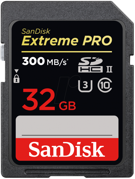 Светкавично бърза мемори карта Sandisk  Extreme Pro® SD 32GB, Class 10, U3,300 Mb/s (SD-SDXPK-032G-GN4IN)