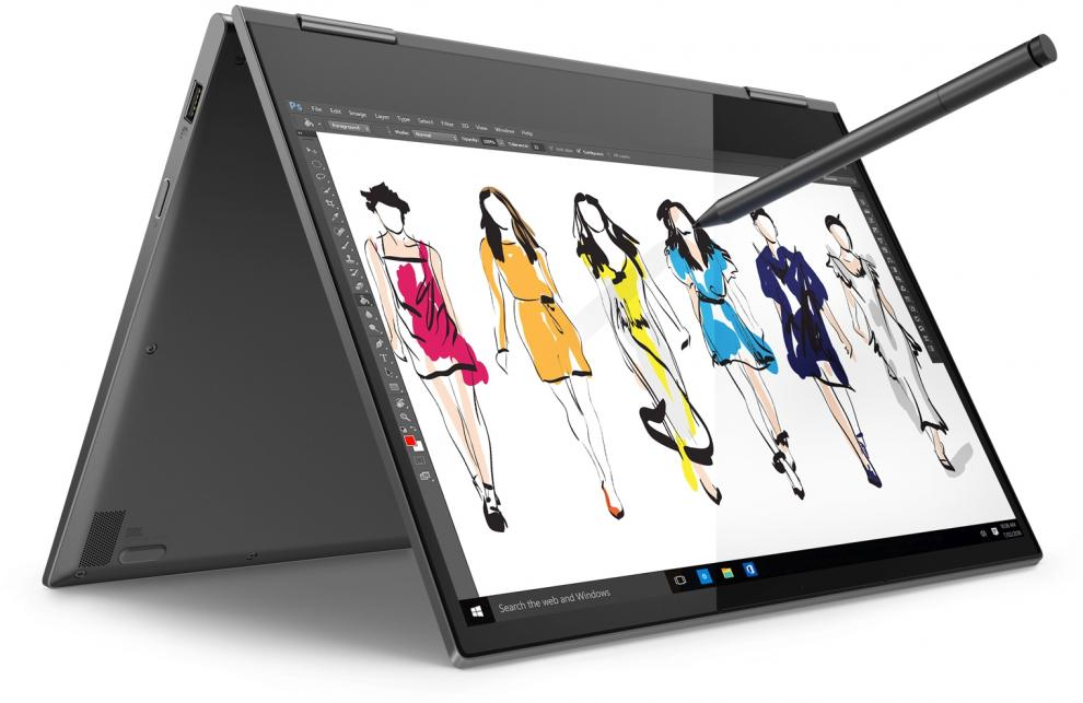 "Лаптоп Lenovo Yoga 730 (81JR0087BM) 13.3"" UltraHD IPS Touch, i5-8265U, 8GB RAM, 512GB SSD, Win 10 Pro, Сив  + Active Pen"