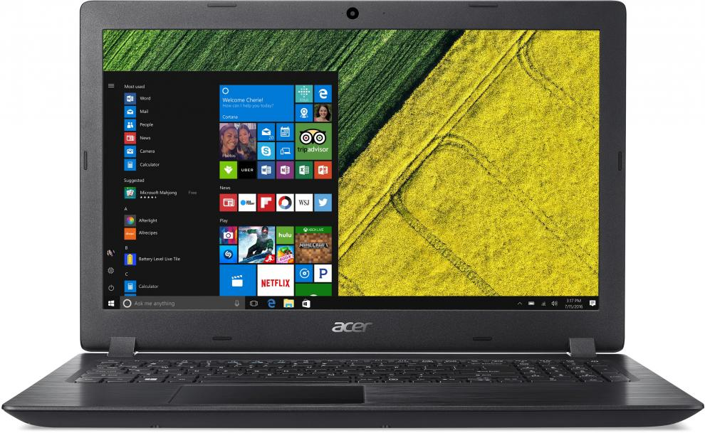 "UPGRADED Acer Aspire 3 A315-51-35Y6 | NX.H9EEX.016 | 15.6"" FHD, i3-7020U, 4GB, 1TB, Черен, Win10 Pro"
