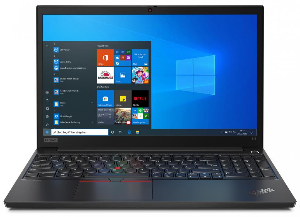 "Lenovo ThinkPad E15, 15.5"" FHD, i5-10210U, 8GB, 256GB SSD, UHD Graphics, Черен"