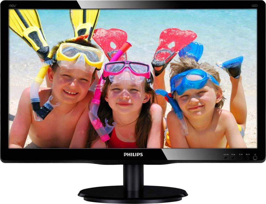 "Монитор Philips 193V5LSB2/10 18.5"" Slim LED, Черен (193V5LSB2/10)"
