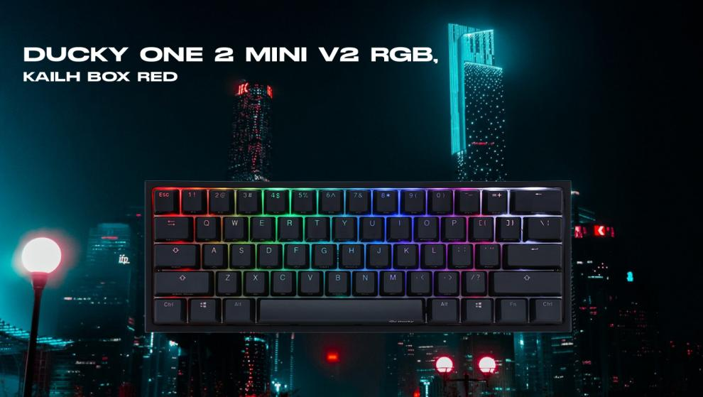 Геймърскa механична клавиатура Ducky One 2 Mini V2 RGB, Kailh BOX Silent Pink, Черна | 2061-KUSPDAZTI