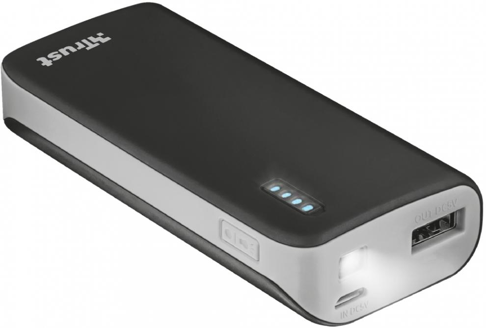 Външна батерия TRUST Primo Power Bank 4400 Portable Charger - Черна