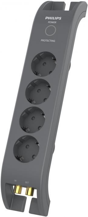 Philips 4 Plug 2m (SPN5144A) иновативен разклонител coaxial protection, 3 lines protection