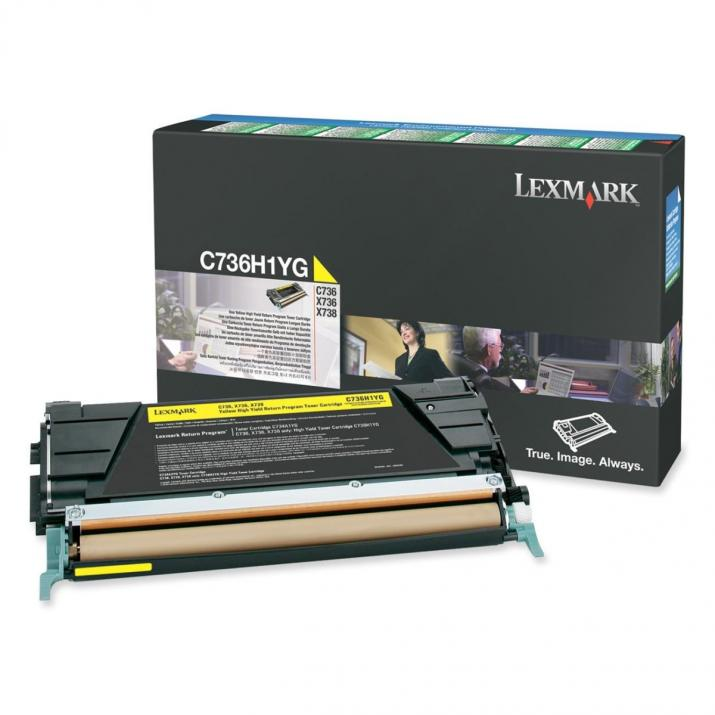 Оригинална тонер касета Lexmark C736H1CG Yellow за 10 000 страници, C736dn / X738de Return Programme C736H1KG