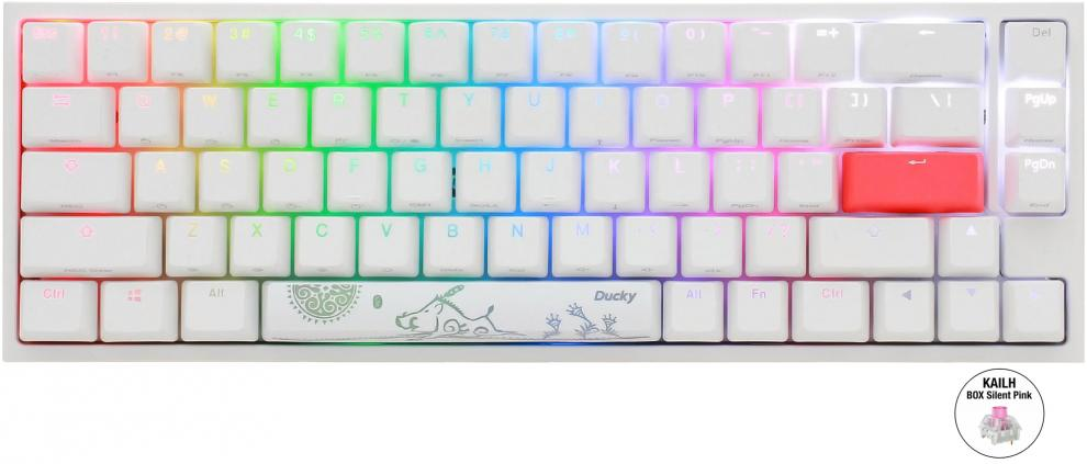 Геймърскa механична клавиатура Ducky One 2 SF White RGB, Kailh BOX Silent Pink | DUCKY-KEY-1967-KUSPDWWTI 1
