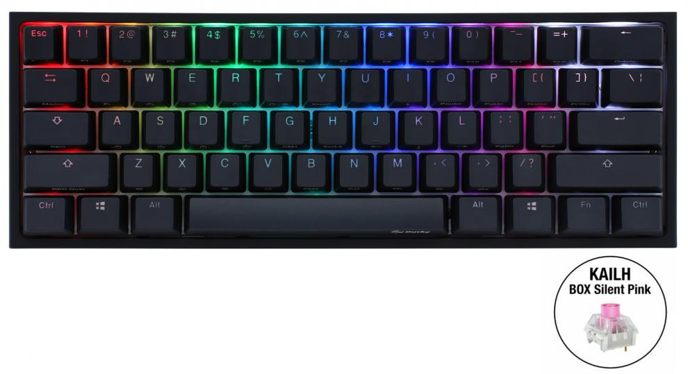 Геймърскa механична клавиатура Ducky One 2 Mini V2 RGB, Kailh BOX Silent Pink, Черна | 2061-KUSPDAZTI 1