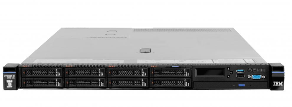 "Сървър Lenovo System x3550 M5, Intel Xeon E5-2630v3, 1x 16GB, Integrated, 1x550W HS, IMM2 dedicated port, LCD Lightpath Standard, ServeRAID M5210 (no cache/flash) (0/1/10), 4x Gigabit Ethernet, 4x2.5"" HS SAS/SATA, 3/3 OnSite Limited, 5463NDG"