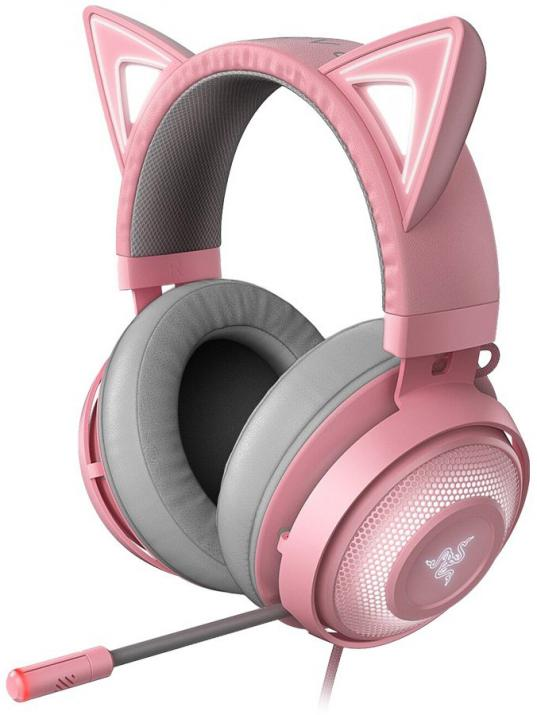 Геймърски слушалки Razer Kraken Kitty Ed. - Quartz, RGB, Stream Reactive Lighting, Cosplay Mode, Pink | RZ04-02980200-R3M1 1