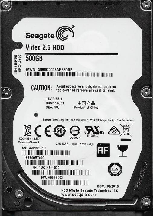 "Твърд диск 500GB Seagate Video 2.5"" SATA3 (ST500VT000)"