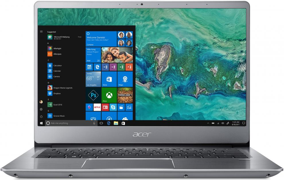 "UPGRADED Acer Aspire Swift 3 Ultrabook SF314-54-53NL (NX.GXZEX.007) 14.0"" FHD IPS, i5-8250U, 8GB RAM, 512GB SSD, Win 10, Сребрист"