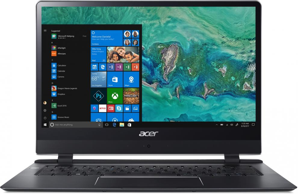 "Лаптоп Acer Swift 7 SF714-51T-M64V, 14"" FHD IPS Touch, i7-7Y75, 8GB RAM, 256GB SSD, Win 10"