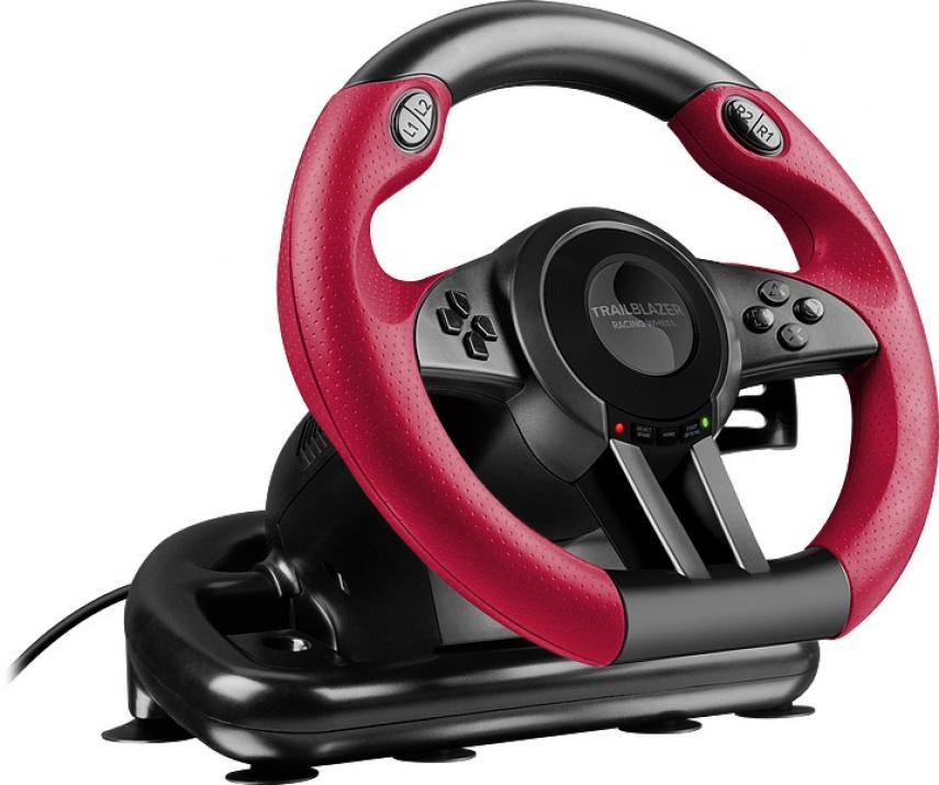 Волан с педали Speedlink Trailblazer за PS4/Xbox One/PS3/PC, Черно-червен (SL-450500-BK)